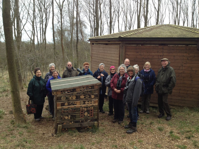 RSPB members at the Bug Hotel