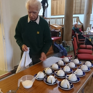 Helping at the Coffee Morning
